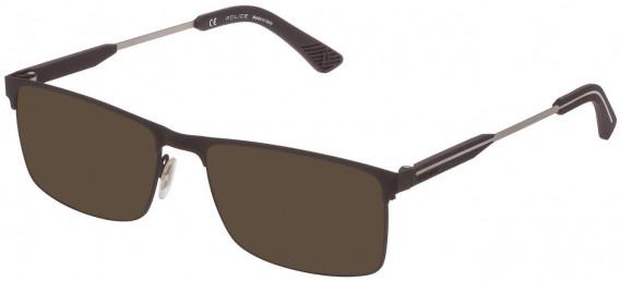 Police VPL798 sunglasses in Rubberized Brown