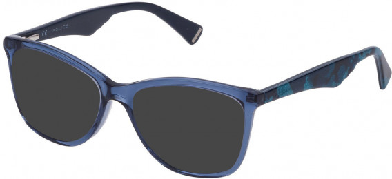 Police VPL760 sunglasses in Shiny Transparent Blue