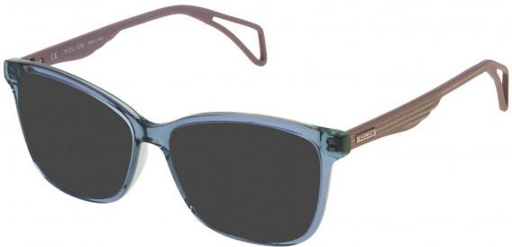 Police VPL731 sunglasses in Shiny Petroleum Top/Green