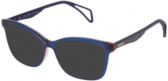 Police VPL731 sunglasses in Blue/Azure/Orange