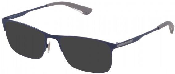 Police VPL698 sunglasses in Shiny Grey/Azure