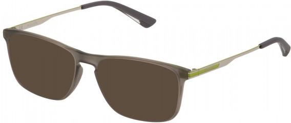 Police VPL697 sunglasses in Matt Transparent Dark Grey