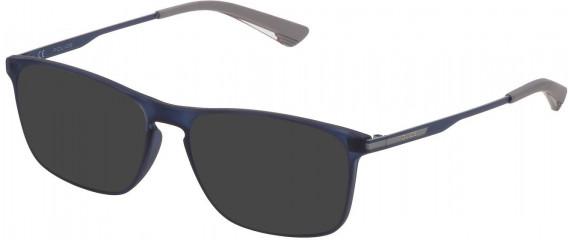 Police VPL697 sunglasses in Matt Transparent Blue