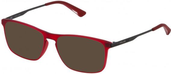 Police VPL697 sunglasses in Matt Transparent Red