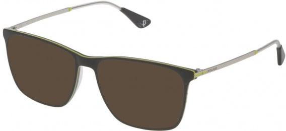 Police VPL689 sunglasses in Shiny Grey Top/Yellow