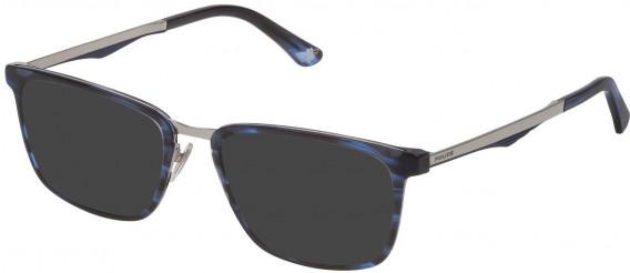 Police VPL684 sunglasses in Shiny Horizontal Striped Blue