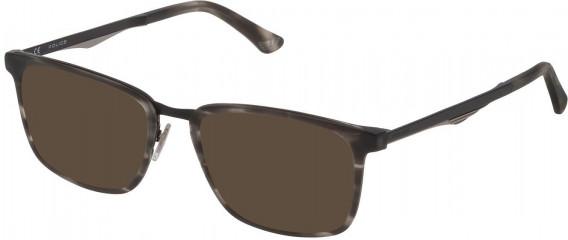 Police VPL684 sunglasses in Matt Striped Grey Havana
