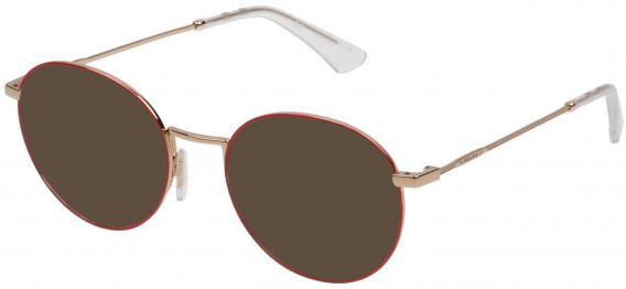 Police VPL665 sunglasses in Shiny Rose Gold/Red
