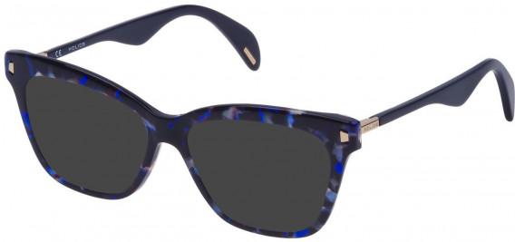 Police VPL627 sunglasses in Shiny Blue Havana