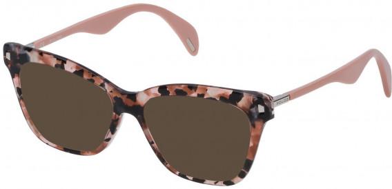 Police VPL627 sunglasses in Shiny Pink/Brown Vintage Havana