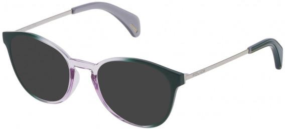 Police VPL626 sunglasses in Shiny Rotten Green Gradient Violet