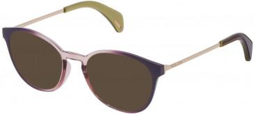 Police VPL626 sunglasses in Shiny Dark Liliac Gradient Antique Pink