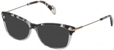 Police VPL506 sunglasses in Shiny Grey/Black Havana