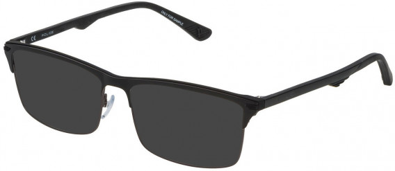 Police VPL483 sunglasses in Matt Gun Metal/Shiny Black