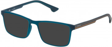 Police VPL479 sunglasses in Semi Matt Petroleum Green