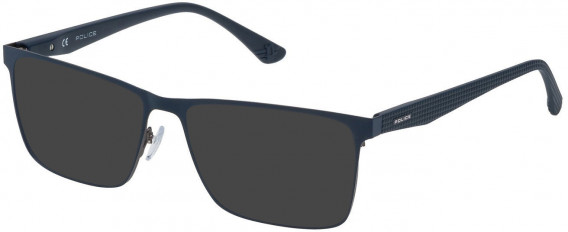 Police VPL475 sunglasses in Matt Gun/Blue