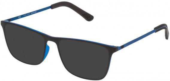 Police VPL471 sunglasses in Rubberized Blue/Rubberzed Brown