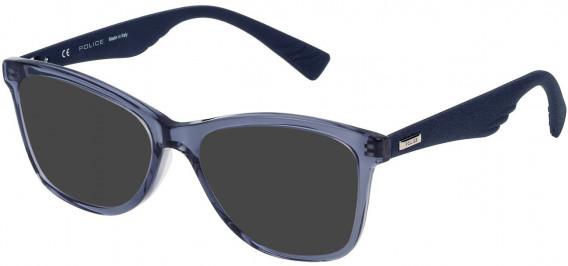 Police VPL414 sunglasses in Shiny Transparent Blue