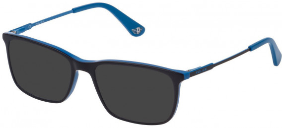 Police VK073 sunglasses in Shiny Blue Top/Azure