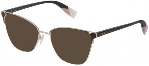 Furla VFU360 sunglasses in Shiny Rose Gold/Black