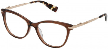 Trussardi VTR190 glasses in Shiny Transparent Warm Brown