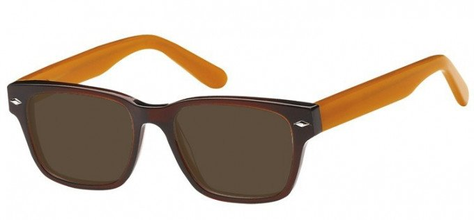 Sunglasses in Clear Brown/Orange