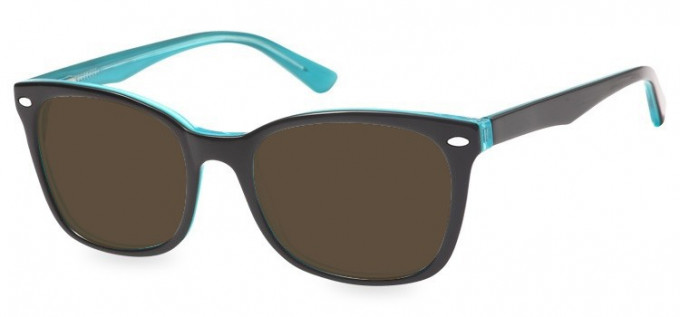 Sunglasses in Black/Clear Turquoise