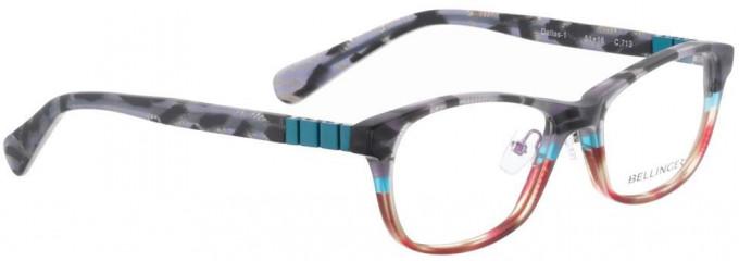 Bellinger DALLAS-1-713 Glasses in Matt Grey/Red Pattern
