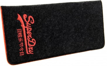 Superdry Felt glasses case in Black/Red